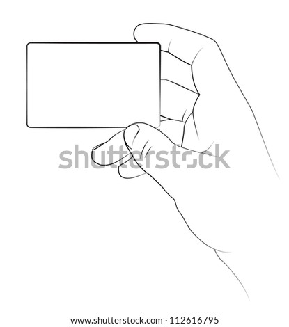 Hand holding a blank business card, Vector image. - stock vector
