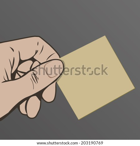 Hand holding a blank card