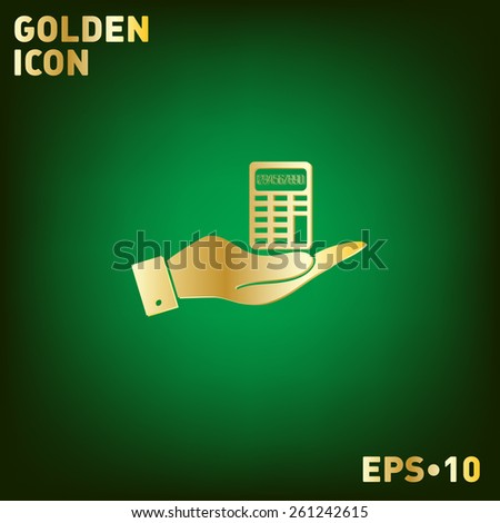 hand holding a calculator. office sign - stock vector
