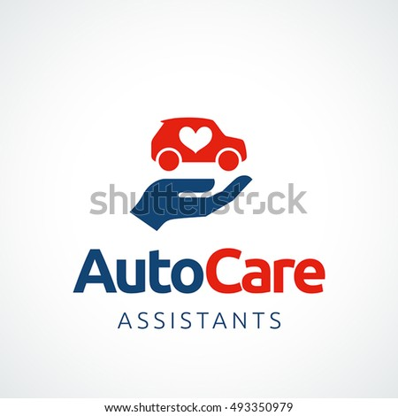 Hand holding a car symbol with heart shape, vector icon. Logo template. EPS 10 file.