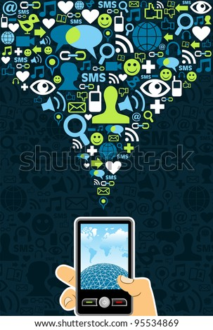 Hand holding a cell phone under social media icons on blue background Vector file available.