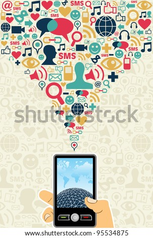 Hand holding a cell phone under social media icons on light background Vector file available. - stock vector