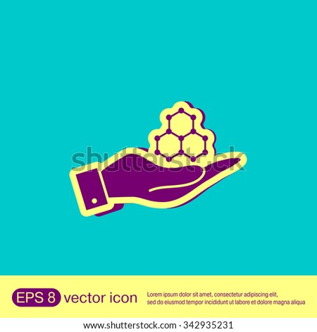 hand holding a Chemical compound. Symbol chemistry. Icon science - stock vector