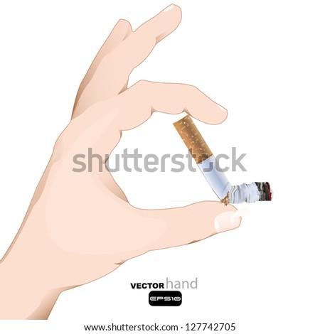hand holding a cigar. smoke kills or no smoke concept - stock vector
