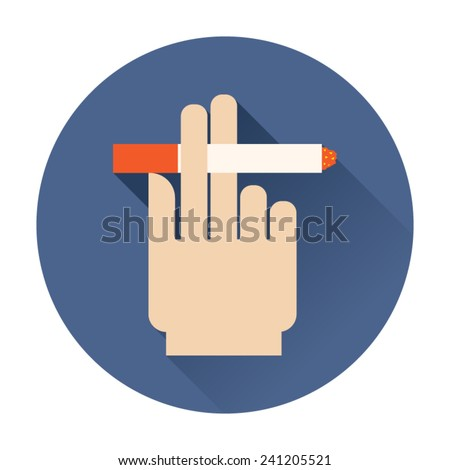 hand holding a cigarette icon - stock vector