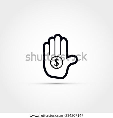Hand holding a coin vector icon - stock vector