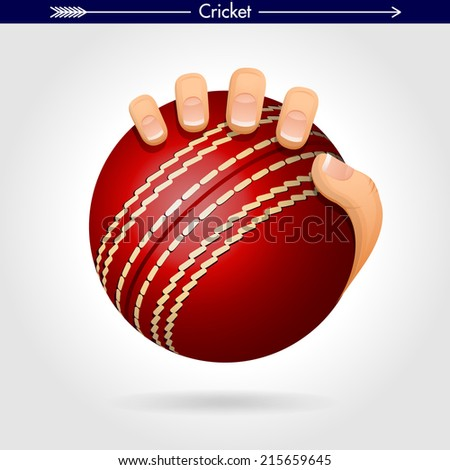 Hand Holding a Cricket Ball Icon/Sticker