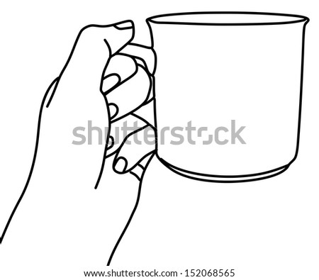 hand holding a cup, vector illustration