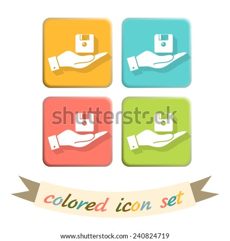 hand holding a floppy, diskette. symbol store information document. computer floppy disk icon . - stock vector