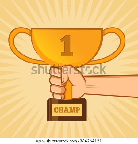 Hand holding a golden championship trophy, vector illustration