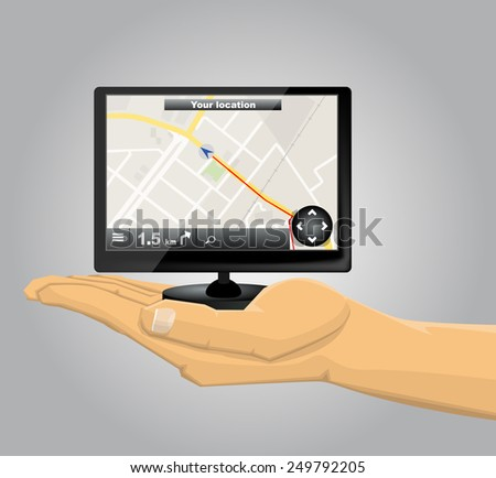 Hand Holding a GPS - stock vector