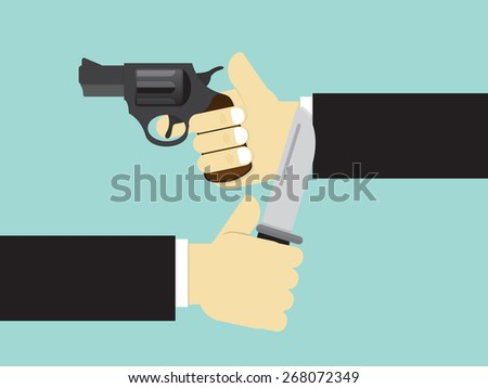 Hand holding a gun and Hand holding a knife