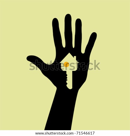 Hand holding a house key - stock vector