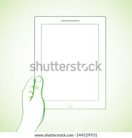 Hand holding a 10 inch tablet - stock vector