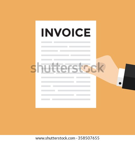 Hand holding a letter with Invoice headline - stock vector