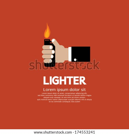 Hand Holding A Lighter - stock vector
