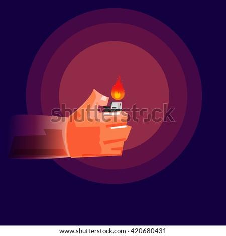Hand Holding a Lighter in darkness  - vector illustration - stock vector