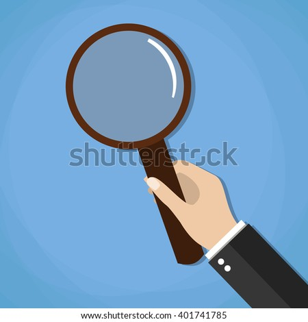 hand holding a magnifying glass. vector illustration in flat design on blue background - stock vector