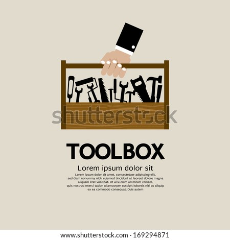 Hand Holding A Mechanic Toolbox  - stock vector