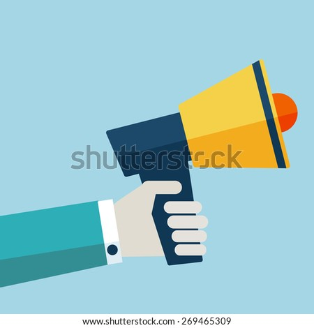 Hand holding a megaphone. Flat design. Promotion and advertising concept - stock vector