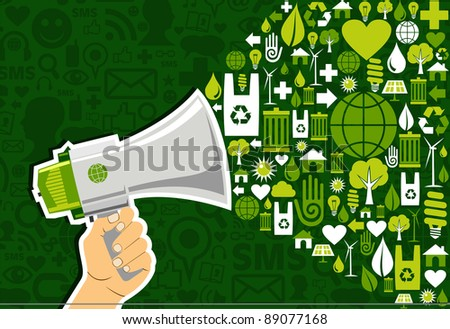 Hand holding a megaphone promote eco friendly icons over green background. Vector file available. - stock vector