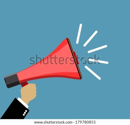 Hand holding a megaphone, promotion marketing concept - stock vector