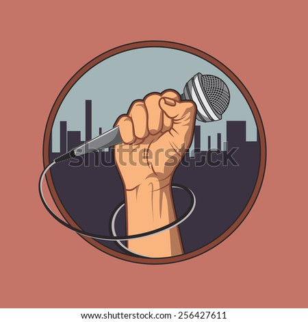 hand holding a microphone in a fist, background silhouette of the city. retro poster. vector illustration. vintage design - stock vector