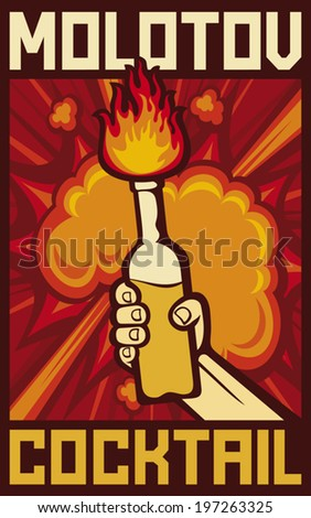 hand holding a molotov cocktail poster - stock vector