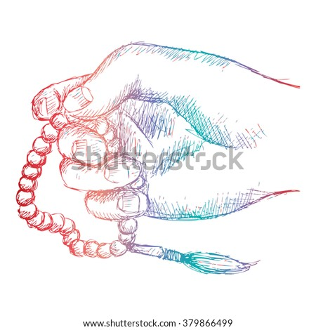 Hand holding a Muslim rosary. Sketchy style illustration. - stock vector