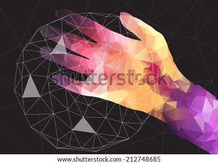 Hand Holding a Net Sphere, Social network - Vector Illustration - stock vector