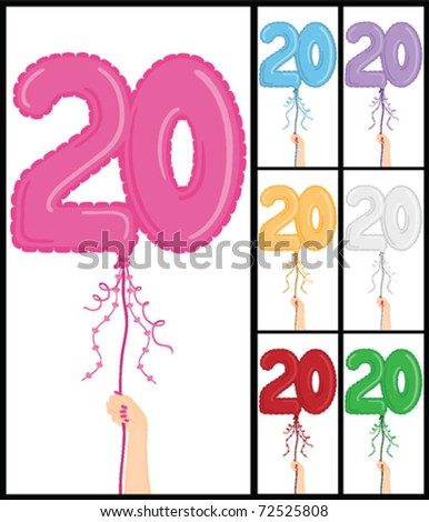 """Hand holding a number 20 shaped balloon for """"20TH Birthday"""", isolated on white and in 7 color options each individually grouped and on separate layers. - stock vector"""