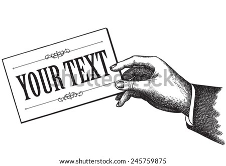 Hand Holding A Piece Of Paper Vintage Style Vector - stock vector