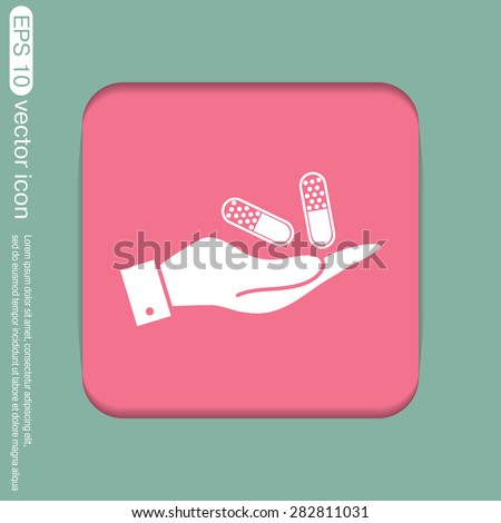 hand holding a pill tablet sign. symbol of medicine and health. icon pills and tablets .