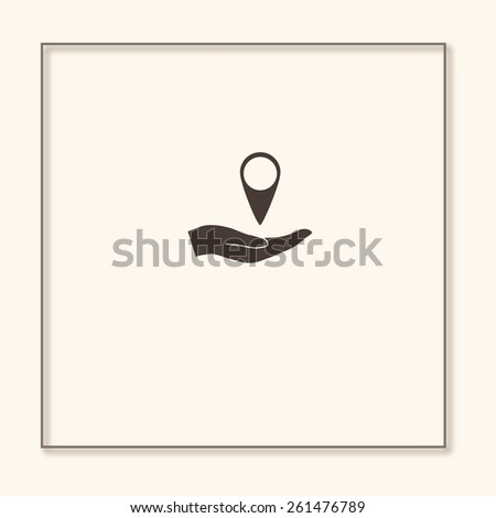 hand holding a pin location - stock vector
