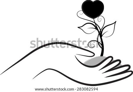 Line Drawing Heart Shape : Hand holding plant heart shape stock vector  shutterstock