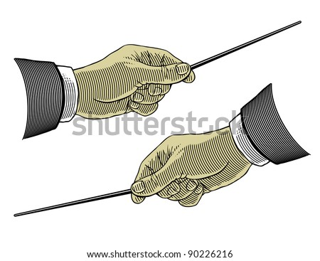 Hand holding a pointing stick - stock vector