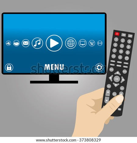 Hand holding a remote control, smart television, flat vector illustration - stock vector