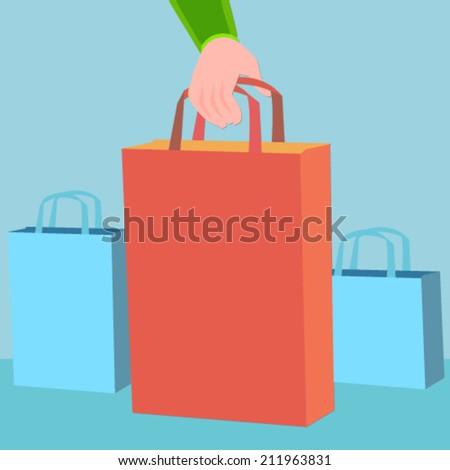 hand holding a shopping bag - flat design vector  - stock vector