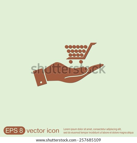 hand holding a shopping cart online store, Internet shop. basket shopping - stock vector