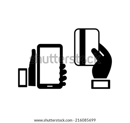 Hand holding a smart mobile phone next to a handheld credit card  concept of mobile banking  isolated on white - stock vector