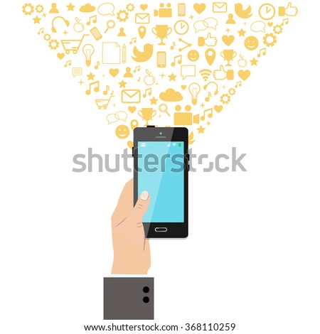 Hand holding a smart phone with various application icons on the background. Vector illustration.