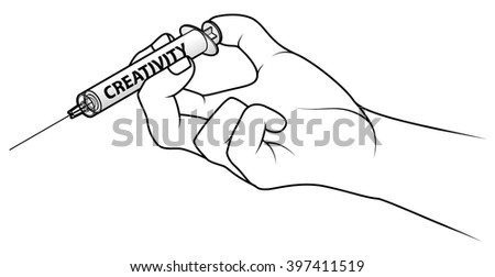 Hand holding a syringe. Concept: injecting creativity.