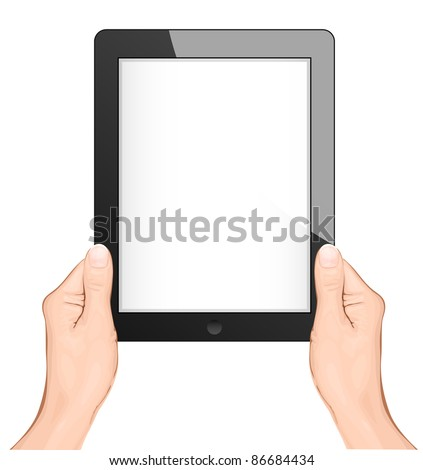 hand holding a touchpad pc (tablet) - stock vector