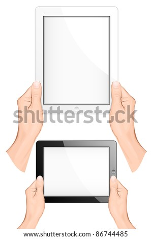 Hand holding a touchpad pc (tablet). vector illustration - stock vector