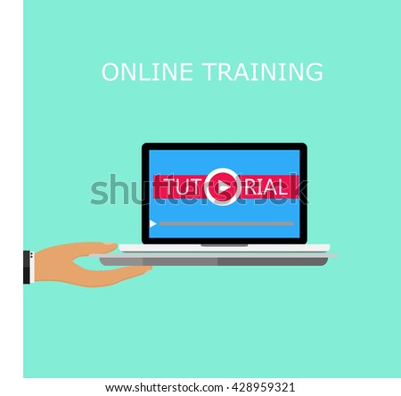 Hand holding a tray with a laptop, a tutorial on the screen, vector illustration in flat style, the concept of online learning, video tutorial - stock vector