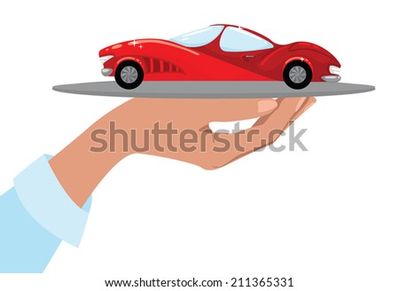 Hand holding a tray with luxury car.