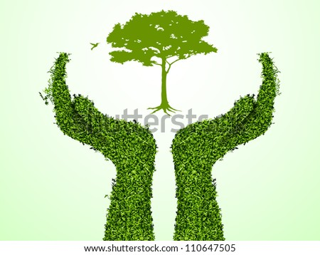 Hand holding a tree that show the growth your business. Vector illustration. - stock vector