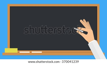 Hand holding a white chalk in front of a classic black blank school board or blackboard. Flat design - stock vector