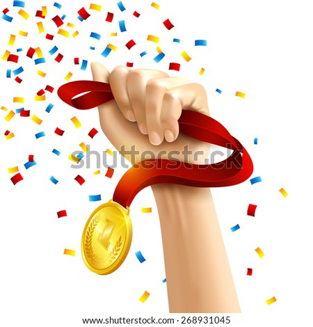 Hand holding a winners medal in multi colored confetti concept vector illustration - stock vector
