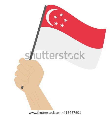 Hand holding and raising the national flag of Singapore - stock vector